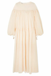 Philosophy di Lorenzo Serafini - Lattice-trimmed Georgette Maxi Dress - Ivory
