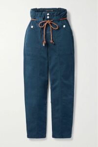 PatBO - Palm Mesh And Jute-trimmed Printed Woven Midi Dress - Green