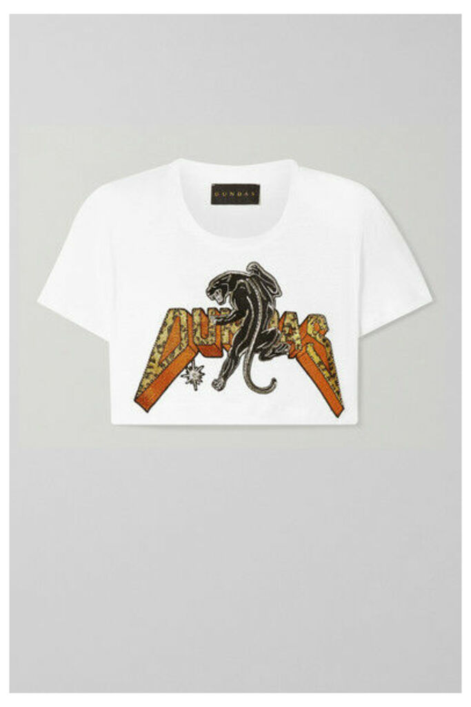 Dundas - Cropped Beaded Appliquéd Linen T-shirt - White