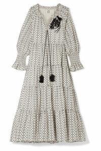 Figue - Bella Sequin-embellished Polka-dot Cotton-voile Maxi Dress - Off-white