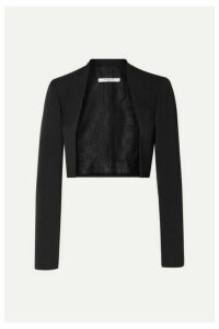 Givenchy - Cropped Felt-trimmed Grain De Poudre Wool Blazer - Black