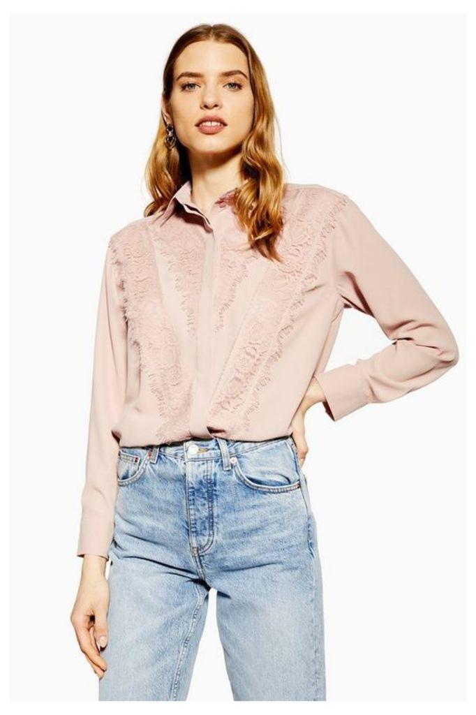 Womens Lace Shirt - Blush, Blush