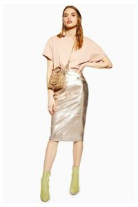 Womens Metallic Leather Pencil Skirt - Champagne, Champagne