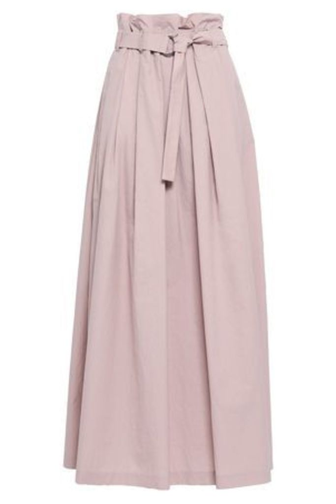 Brunello Cucinelli Woman Belted Crinkled Cotton-blend Poplin Maxi Skirt Blush Size 42