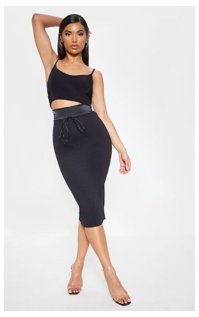Black Satin Waistband Midi Skirt, Black