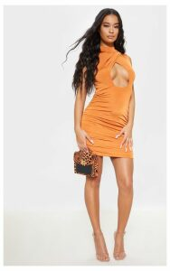 Burnt Orange Metallic Slinky Ruched Cut Out Bodycon Dress, Orange