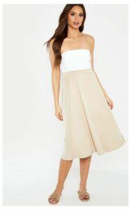 Stone Scuba Flippy A Line Midi Skirt, White