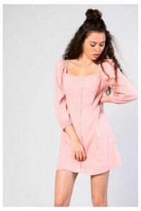 Womens **Square Neck Dress By Glamorous - Blush, Blush