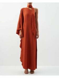 Chloé - Ruffled Plissé Crepe Mini Dress - Womens - Navy