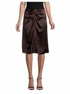 Geometric Print Ruched Silk Skirt