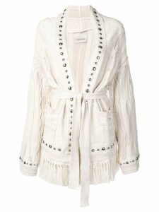 Laneus studded cable knit cardi-coat - Neutrals