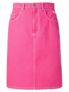 MSGM contrast stitch denim skirt - Pink