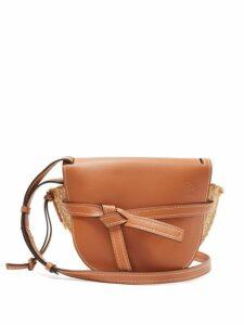 Loewe - Gate Leather And Raffia Cross Body Bag - Womens - Tan Multi