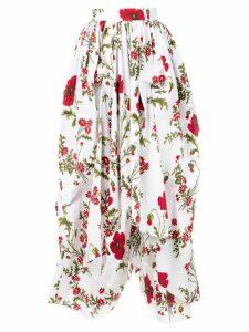 Alexander McQueen floral asymmetric skirt - White