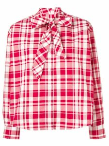 Maison Kitsuné red plaid blouse