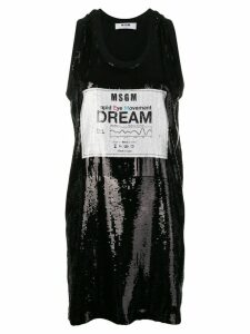 MSGM sequin logo shirt dress - Black