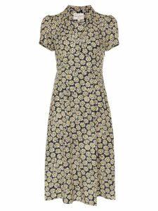 HVN morgan daisy print silk dress - Black