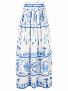 Le Sirenuse Bella Deifenbach-print cotton skirt - White