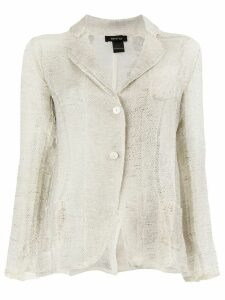 Avant Toi sheer knit blazer jacket - Neutrals