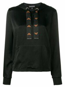 Emporio Armani logo drawstring hoodie - Black