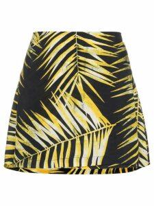 Double Rainbouu Leaf print wrap mini-skirt - Black