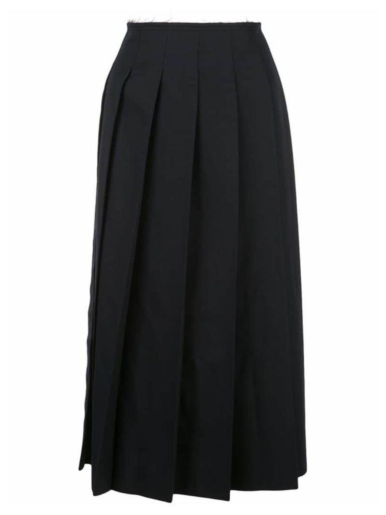 Comme Des Garçons frayed waist pleated skirt - Blue