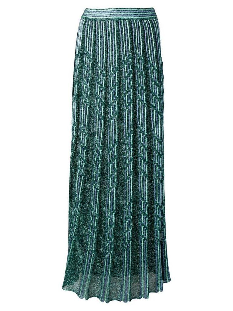 M Missoni sparkly knit pleated maxi skirt - Green
