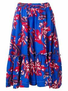 P.A.R.O.S.H. floral ruffle midi skirt - Blue