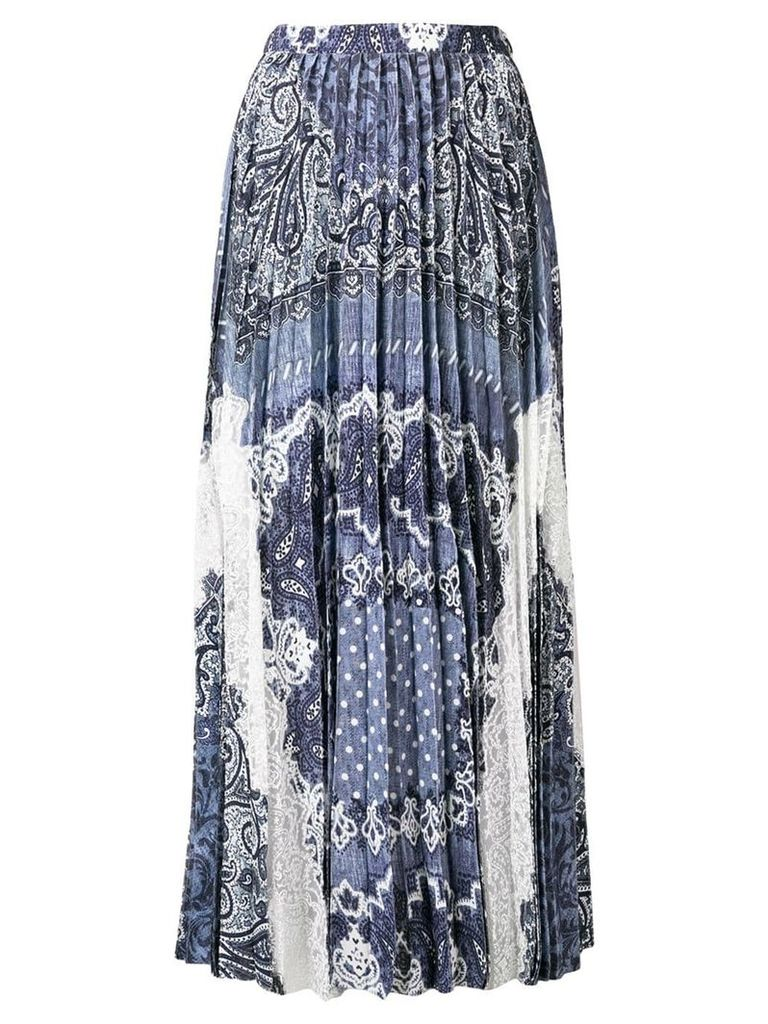 Ermanno Scervino pleated lace panel maxi skirt - Blue
