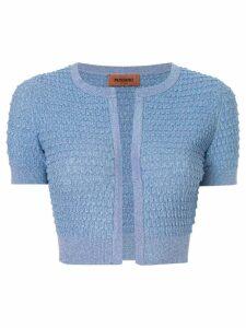 Missoni cropped textured knit cardigan - Blue