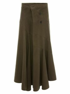 JW Anderson TWISTED WASHED SKIRT WITH FRONT DRAPE - Green