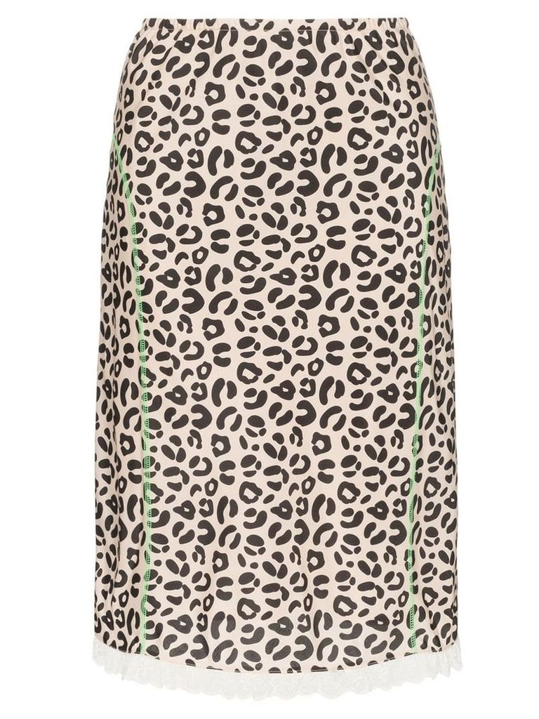 Sandy Liang leopard print slip skirt - Brown