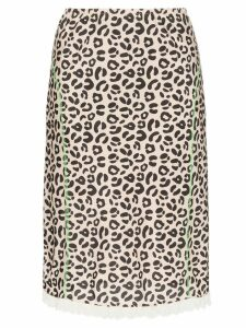 Sandy Liang leopard print slip skirt - Brown