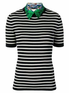 Tory Burch woven-collar striped sweater - Black