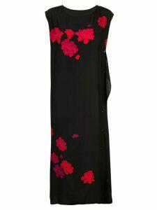 Yohji Yamamoto floral print button front dress - Black