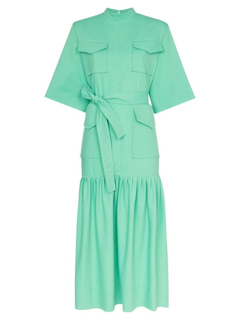 George Keburia pocket detail cotton midi dress - Green