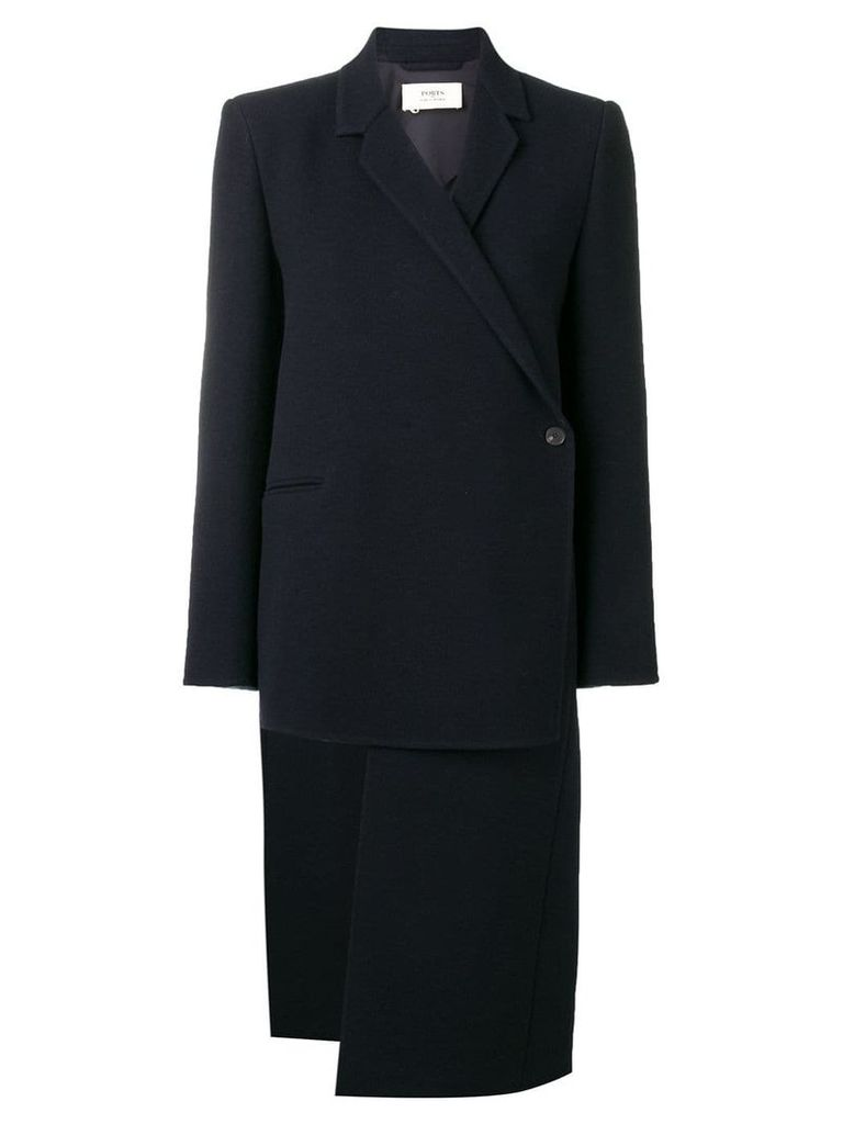 Ports 1961 asymmetrical structured coat - Blue