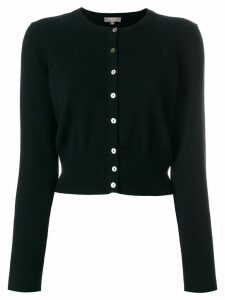 N.Peal cropped contrast button cardigan - Black