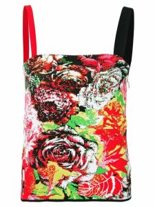 Versace floral jacquard tank top - Red