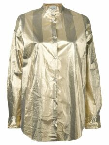 Forte Forte metallic band collar shirt - Gold