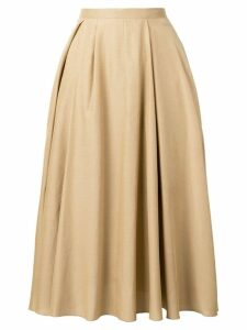 Rochas pleated midi skirt - Neutrals
