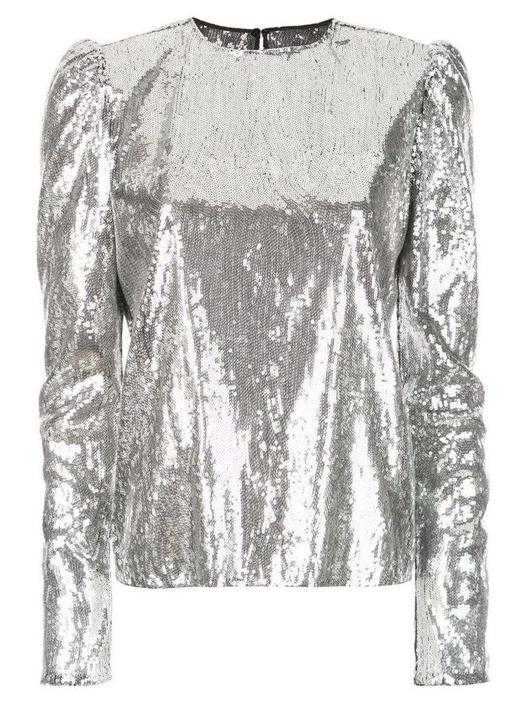 Philosophy Di Lorenzo Serafini sequinned puff-sleeve blouse - Grey