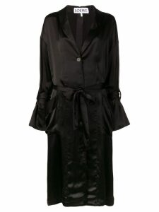 Loewe satin belted coat - Black