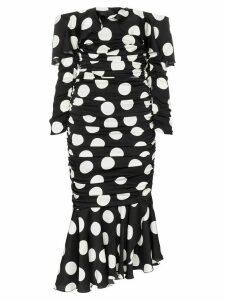 Dolce & Gabbana off-the-shoulder polka dot silk blend dress - Black