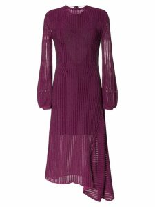Chloé backless ribbed detail knitted silk midi dress - Purple