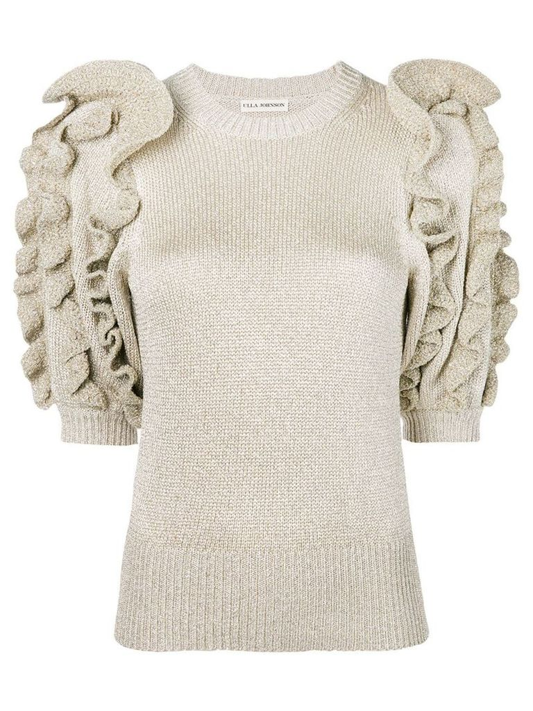 Ulla Johnson metallic knit ruffled sweater - Silver