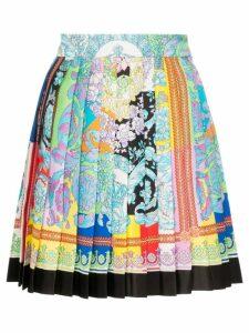 Versace printed pleated silk mini skirt - Blue