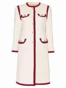 Gucci single-breasted web trim wool coat - Neutrals