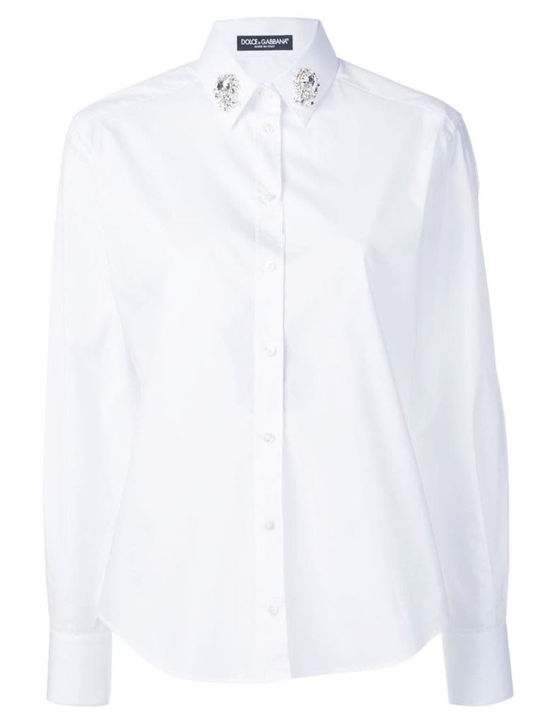 Dolce & Gabbana embellished collar shirt - White