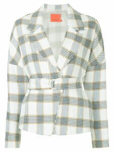 Manning Cartell checked belted blazer - White